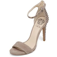 Vince Camuto Women's Studded Suede Ankle-Wrap Sandal - Cream/Tan -... ($65) ❤ liked on Polyvore featuring shoes, sandals, cream sandals, tan sandals, vince camuto sandals, suede sandals and ankle tie sandals