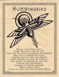 Hummingbird Prayer Poster Animal Spirit Guide Art Celtic Wicca Native American My moms favorite bird Magick, Witchcraft, Spiritual Tattoo, Animal Spirit Guides, Pagan Witch, Witches, Animal Totems, Book Of Shadows, Nativity