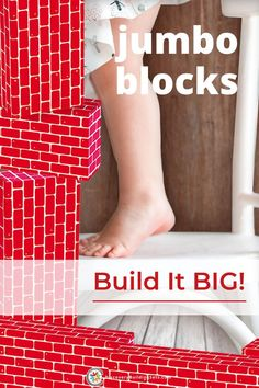 Jumbo blocks inspire your toddler to build it BIGGER than they can imagine! Trade-in, your small building blocks for some giant blocks, to fuel your child's curiosity, imagination, and discovery. Cardboard blocks are sturdy and durable, making them ideal for building castles, forts, towers, or tunnels....limited only by your kids' imagination. Channel their inner explorer and take building to new heights! #DiscoveryBuildingSets #jumboblocks #cardboardblocks #giantblocks Toddler Preschool, Toddler Toys, Toddler Activities, Blocks For Toddlers, Kids Blocks, Giant Building Blocks, Block Center, Block Play, Forts