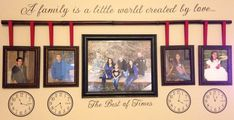 My family picture wall is finally complete! So happy with how it turned out! The clocks are set to their birth times, with their birth dates in the number 3 spot.