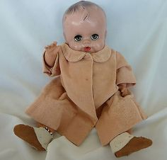 Vintage-Doll-Babee-Bee-by-Ruth-Newton-12-w-Beaded-Moccasins-Coat-See-Pics