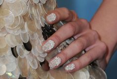 Add some micro beads to your CND Shellac for this Water Bubble nail style.   Joy Cioci Spring 2013 Collection #nyfw