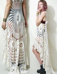Crochet Dress VINTAGE LACE White Fishtail/Train by cruxandcrow