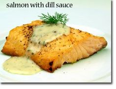 Salmon with dill and mint sauce
