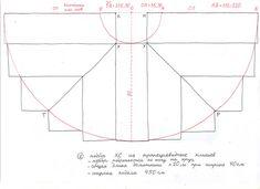 Полусолнце разбивается на полоски, спереди и сзади прямоугольные, а остальные в форме трапеции. Ширина полоски - те самые 35 см. Полоски сшиваются между собой, крой раскладывается на полу и подрезается по кругу. Это способ подбора №1 - с трапециевидными клиньями. Клинья имеют косой срез, отсюда и название КОСОКЛИННЫЙ. Впрочем, сарафан с трапециевидными клиньями чаще назывался просто: КЛИННИК