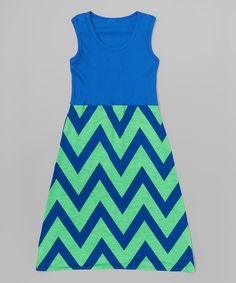 Look what I found on #zulily! Blue & Green Chevron Maxi Dress - Infant, Toddler & Girls by CopyCat Couture #zulilyfinds