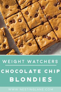 Weight Watchers Chocolate Chip Blondies Dessert Recipe with brown sugar butter egg whites and vanilla 6 WW Freestyle Points and 6 Smart Points desserts blondies chocolate baking wwfreestyle Weight Watcher Desserts, Plats Weight Watchers, Weight Watchers Meals, Weight Watchers Brownies, Weight Watcher Cookies, Healthy Dessert Recipes, Healthy Baking, Healthy Desserts, Smoothie Recipes