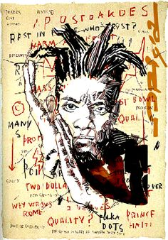 Basquiat - Here he is young artist, a little more than a teenager, catapulted in a short time, in the fast-paced world of American art ... absorbed in his expression, flanked by Andy Warhol. Together exhibit some of their works. The poster for the show portrays them next to each other, with gloves boxer ... even if, perhaps, in macht life, Jean Michel did not came out victorious ...
