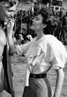 Clark Gable and Ava Gardner on the set of Mogambo, 1953