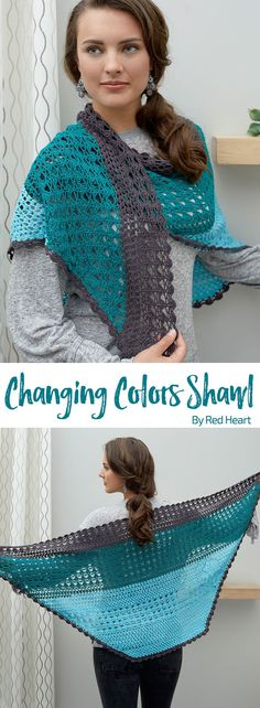 Changing Colors Shawl free crochet pattern in It's a Wrap yarn.