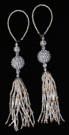 Disco ball pave beads, also known as shamballa beads, make this pair of beaded tassels dazzle! Please visit my Etsy Shop www.gmbdesignscustom.etsy.com