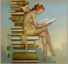 "Michael Parkes (American fantasy artist born 1944) - "" Ex Libris"" (modified) by Plum leaves, via Flickr"