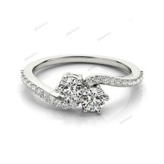925 Silver 14K White Gold Finish 0.89 CT. D/VVS1 Diamond Two-Stone Promise Ring #giftjewelry22 #TwoStoneRing