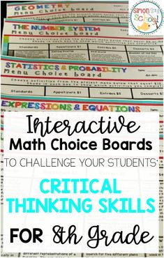 8th grade Interactive math choice boards are great for challenging your students critical thinking skills.  Students will love these math menus that allow them to choose what theyd like to do.  Covers all 8th grade math standards and is common core aligned.  Great math activity that is differentiated.
