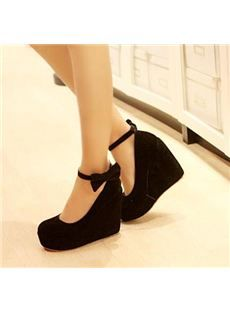 Sweet Platform Wedge Heels Closed-toe Prom Shoes with Bowknot