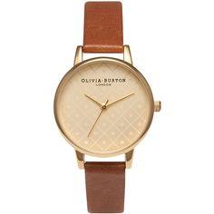 Olivia Burton Modern Vintage Watch - Gold & Tan (6.575 RUB) ❤ liked on Polyvore