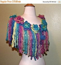 Spring Sale- Shawl Flower Festival Top Caplet Cape Hippie Rainbow Color Crochet Irish Rose Freeform Lace Summer Boho Wrap