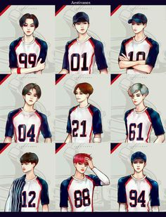 Team EXO, i love how i can tell who exactly is who, they features stand and drawn out so perfectly, especially chanyeol and sehun Exo Anime, Anime Guys, Jooheon, K Pop, Exo Cartoon, Exo Stickers, Exo Fan Art, Exo Lockscreen, Baekhyun Chanyeol