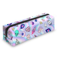 Pencil Case Square Emoji Print Pen Organiser Holographic Travel Stationery Pouch Zip (Cute Patch Holo): Amazon.co.uk: Office Products