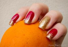 red and gold, double noble nails color