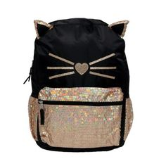 5735bfa55c4 Fashion 17 Sequin Critters Prettiest Kitty Backpack - Black · Pretty CatsBack  2 SchoolKids ...