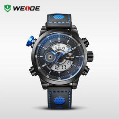 WEIDE Men Wristwatches Famous Brand Original Quartz Digital Mov't Genuine Leather Strap Multifunctional Outdoor Waterproof Watch