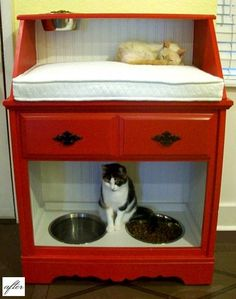 Pet feeding (and napping station) Dog bowls on the bottom, cat bowl up top and a nice little cat bed in the middle. - I love this!'