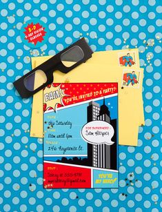 superhero party set - invitations, ideas, and kit full of printables