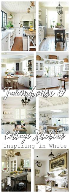 Farmhouse Cottage Kitchens at foxhollowcottage.com - Rustic Wood Floors, Shiplap, Farmhouse sinks, Zinc Topped Islands, Planked Ceilings, Soapstone Counters... All, Inspiring in White!