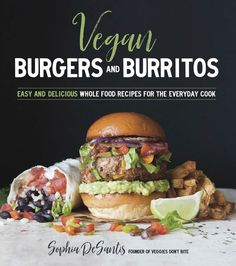Cookbook cover with a burger, burrito and fries