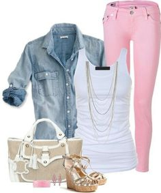 Pink jeans with jean top and white tank. Metallic brown wedge sandal. Cute outfit