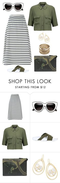 """""""At War!"""" by schenonek ❤ liked on Polyvore featuring T By Alexander Wang, Equipment, NIKE, Valentino, Ippolita and Sole Society"""