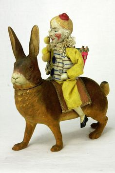 Antique German Easter Rabbit Candy Container with Clown Rider ca1900