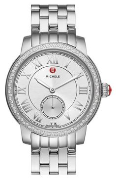 MICHELE 'Harbor Diamond' Watch with Bracelet, 35mm x 16mm available at #Nordstrom $999 anniversary sale 7/21/16 ($1,795) Eighty glistening diamonds frame a gleaming round watch powered by a precise Swiss movement. Roman-numeral markers and a textured subseconds dial further refine the glowing sunray dial. This elegant timepiece comes complete with a coordinating five-link bracelet, but as always, you can create your own look with any of MICHELE's compatible 16mm straps. 35mm case; 16mm band…