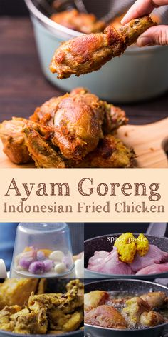 Indonesian fried chicken or ayam goreng is everyone's favorite dish in my home. The skin so crispy and the chicken is flavorful to the bone. Chicken Appetizers, Fried Chicken Recipes, Appetizer Recipes, Asian Recipes, Mexican Food Recipes, Healthy Recipes, Healthy Food, Thai Recipes, Asian Cuisine