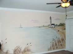What beach mural would be complete without a lighthouse?