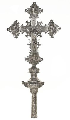Processional cross of embossed, chased and cast silver with Christ crucified, God the Father, the Virgin Mary, St John and St Mary Magdalene on one side and St Andrew and the Four Evangelists on the other: Italian, Venice, by ZBP, second half of the 18th century. Mary And Jesus, Mary Magdalene, Virgin Mary, Precious Metals, 18th Century, Venice, Christ, Father, It Cast