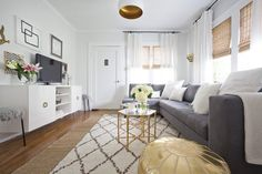 Aside from large pieces like a coffee table, unexpected metallic touches, like the inner rim of the light f...