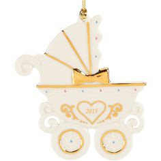 Lenox Baby's 1st Carriage Ornament (64 PLN) ❤ liked on Polyvore featuring home, home decor, holiday decorations, holiday ornaments, lenox, porcelain ornaments and holiday home decor