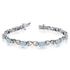 14k White Gold Natural Aquamarine And Diamond Tennis Bracelet -- Check out this…