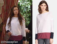 I'm a Soap Fan: Sabrina Santiago's Striped Long Sleeve Sweater with Contrast Hem - General Hospital, Season 53, Episode 64, 06/30/15  #GH #GeneralHospital #TeresaCastillo