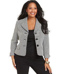 Le Suit Plus Size Jacket, Dotted Blazer - Plus Size Suits & Separates - Plus Sizes - Macys