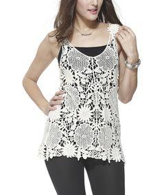 Look at this #zulilyfind! White Floral Crochet Tank #zulilyfinds