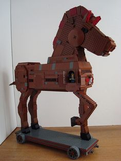 #LEGO Gift Horse (or Trojan Horse) by Lino M.  Look closely at the little minifig inside.