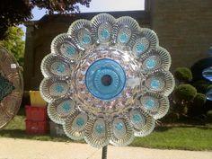 Image result for dish flowers garden art