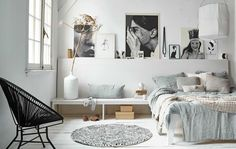 ~follow me @nishalajg~ 77 Gorgeous Examples of Scandinavian Interior Design Muted-blue-Scandinavian-bedroom