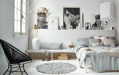 77 Gorgeous Examples of Scandinavian Interior Design Muted-blue-Scandinavian-bedroom