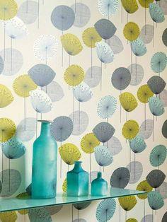 Dandelion Clocks by Sanderson - Chaffinch - Wallpaper : Wallpaper Direct