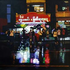 Yangon night in the rain  (2015)  Kyee Myintt Saw  Acrylic on Canvas