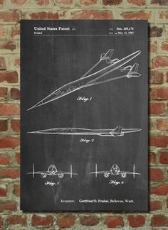 Supersonic Airplane Poster Supersonic Airplane Patent Supersonic Airplane Print Supersonic Airplane Art Supersonic Airplane Decor